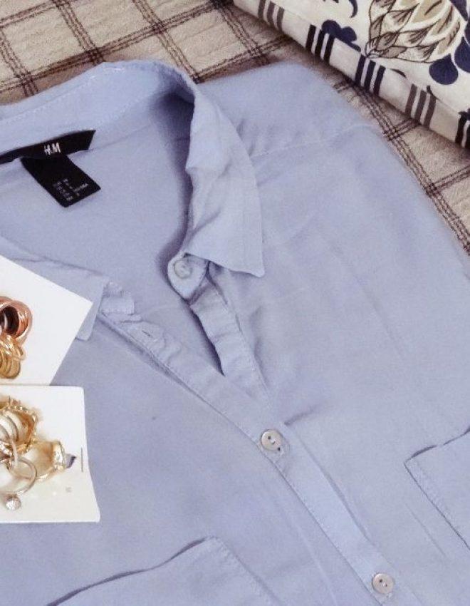 H&M – feine Longbluse in hellblau + Ringe in silber, gold, rosé