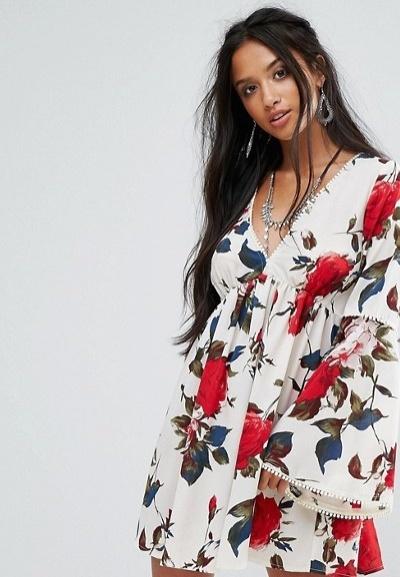 sistersofthetribe-swing-kleid mit ausgestellten aermeln und blumenprint